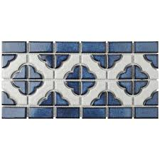 Mosaic Border Tiles Merola Tile Palace Cobalt With White Border 5 3 4 In X 11 3 4 In