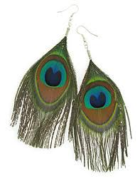 one side feather earring feather earrings peacock feathers feather earrings