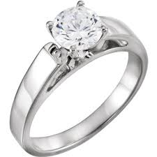 wide band cz engagement ring wide band cathedral solitaire cubic zirconia cz