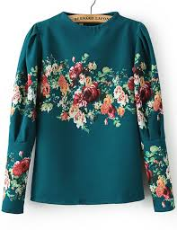 floral blouse green stand collar sleeve floral blouse shein sheinside