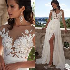 discount fashion elegant lace long beach wedding dresses 2017 new
