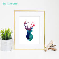 aliexpress com buy deer head print blue red purple geometric