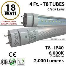 4 foot led tube light bulb 18 watt t8 2000 lm 6000k clear lens