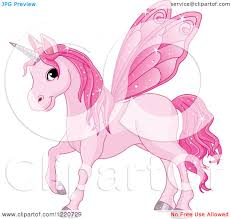 clipart of a magical pink fairy unicorn horse with wings royalty