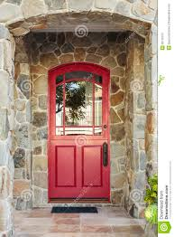 Front Door House Stone House And Red Front Door Stock Photo Image 39176373