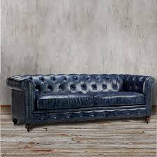 chesterfield sofa blue leather tufted tuxedo navy couch rolled arm