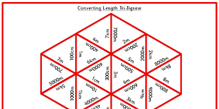 six differentiated maths tri jigsaws linked to converting length