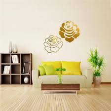 different price diy mirror two rose flower wall stickers home