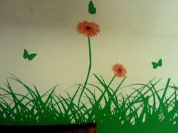 modern nice simple design of the green grass wall sticker that has