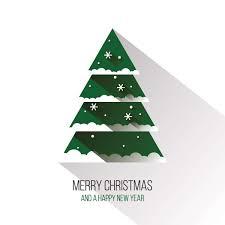 merry christmas modern flat christmas tree vector graphic happy holidays long shadow