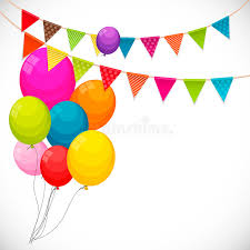 color of happy color glossy happy birthday balloons banner background with part
