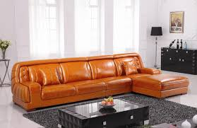 Cheap New Corner Sofas Elegant Orange Leather Sofa Set Philippines Furniture Orange