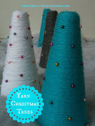 diy yarn wrapped christmas trees practical stewardship
