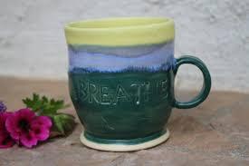 breathe cup handmade ceramic mug pottery teacup yoga cup unique