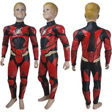 Birthday Suit Halloween Costume Boys Flash Barry Allen Cosplay Halloween Costume Suit Dc