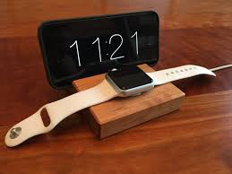 unique charging station apple watch dock docking station walnut or cherry wood