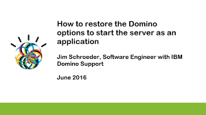 how to restore the domino options to start the server as an