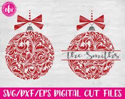 flourish christmas ornament svg dxf eps cut files santa