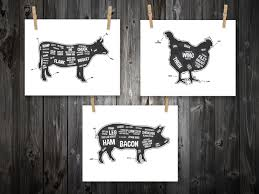 Pig Decor For Home by Cow Pig Chicken Butcher Diagram Butcher Chart By Bentonparkprints