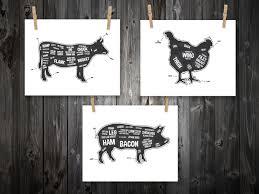 cow pig chicken butcher diagram butcher chart by bentonparkprints