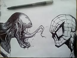 my venom and spider man sketch marvel