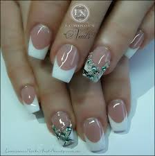 luminous nails french nails with a little bling beauty