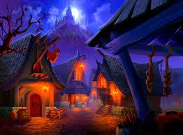 village houses lights lock rock moon halloween wallpaper at