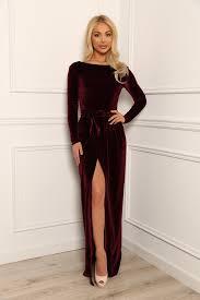 dark burgundy velvet maxi elegant dress slit long sleeves desir