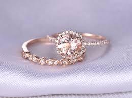 Wedding Rings Rose Gold by Morganite Engagement Ring 2pcs Wedding Ring Set 14k Rose Gold