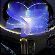 customized hotel big chandelier light made from lighting fiber
