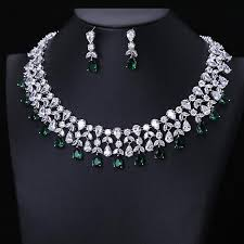 earring necklace set images Newest luxury sparking brilliant green zirconia earring necklace jpg