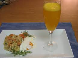 smoked salmon hash and sunrise mimosas for easter brunch