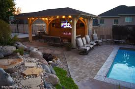 9 fun outdoor tv theater living areas western timber frame