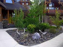 design garden with river rock drainage regard to low landscape