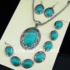 turquoise stone necklace set images New arrival 3pcs vintage antique tibetan silver natural stone oval jpg