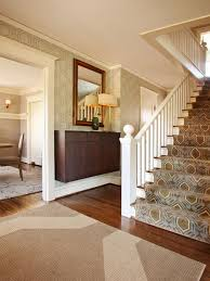 colonial home design with elegant printed carpet design for white