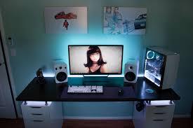 computer room ideas desktop setup so far desk upgrade and led ambient lighting