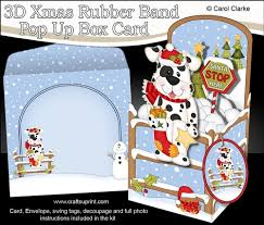 3d christmas rubber band pop up box card little spotty dog has a