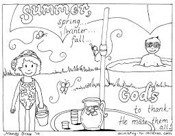 summer coloring page for kids seasons pages printables with