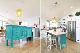 turquoise kitchen island transformed vintage dresser to kitchen island nesting