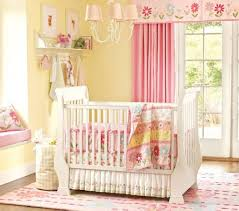 Nursery Chandelier Bedroom Wonderful Pink Curtain Facing White Crib And Flowery