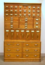 Globe Wernicke Oak Four Stack Fifty Two Drawer File Cabinet Sale