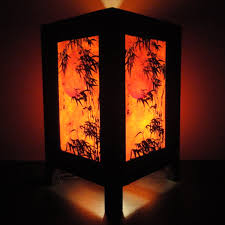 Traditional Table Lamps Asian Oriental Japanese Bamboo Dawning Art Bedside Table Lamp Wood