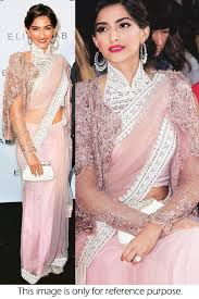 style sonam kapoor mono net saree in baby pink colour nc1077