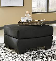 Black Microfiber Ottoman Darcy Contemporary Black Color Microfiber Ottoman