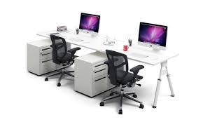 2 person workstation bench ergonomic desk run white leg