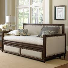 furniture retro wood trundle day bed with white cushions