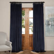 midnight blue extra wide blackout velvet curtains