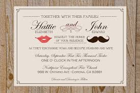 cool wedding invitation template design sample with mustache and