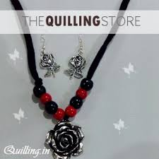 silver plated bead necklace images Antique oxidised silver plated beads black red metal strand jpg